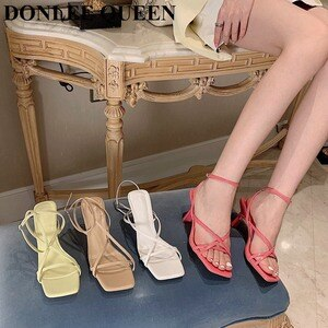 2021 Fashion Women Sandals Narrow Band Vintage Square Toe High Heels Buckle Strap Gladiator Sandals Luxury Brand Shoes For Party