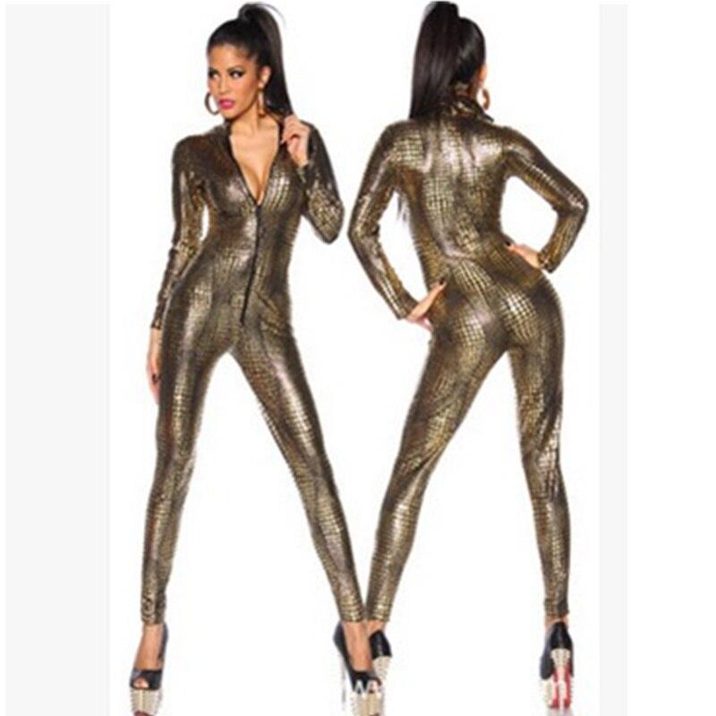 Mono Sexy metálico de piel de serpiente Bodycon mono de mujer de manga larga con cremallera frontal dorado Negro mono de imitación de Cuero para Dama