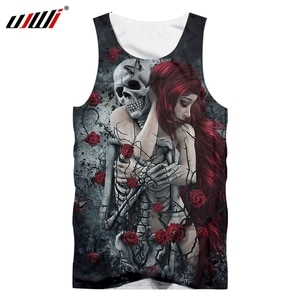UJWI 3D Printing Skull Man Vest Sexy Black Red Hair Woman Tank Top Comfortable Male Sleeveless Top Breathable Big Size Dropship