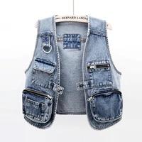 autumn korean big pocket short denim vest women vintage blue waistcoat sleeveless jacket coat plus size jeans vests female 5xl