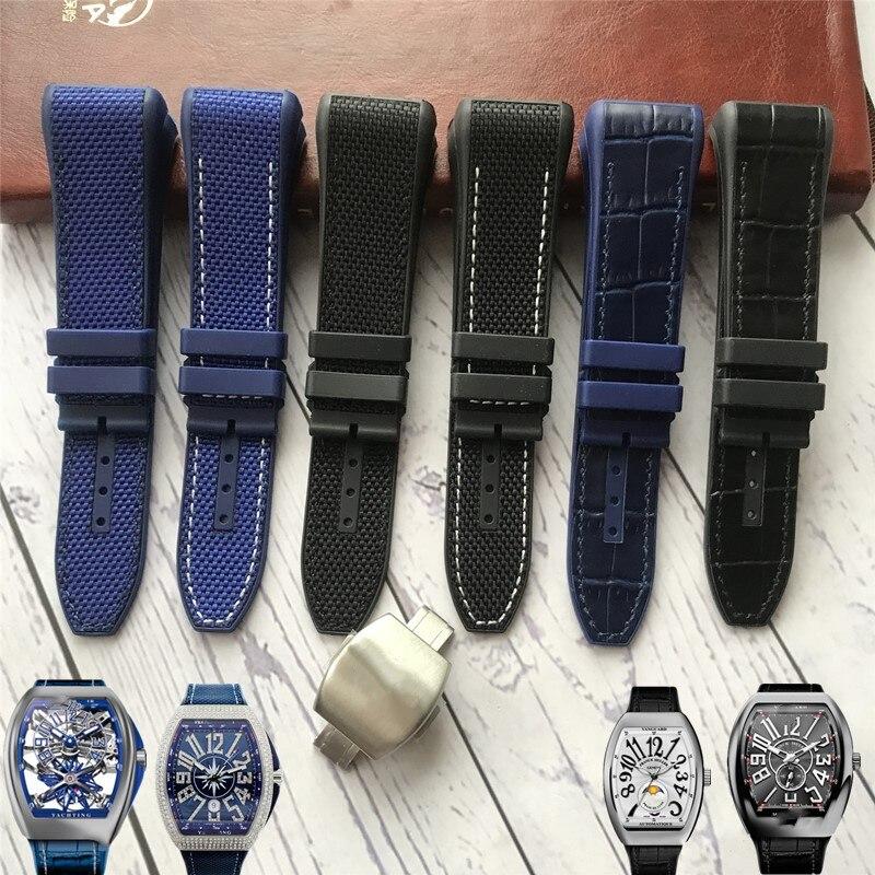 Correa de reloj de silicona de Nylon y cuero de vaca de alta calidad de 28mm, correa de reloj negra y azul con hebilla plegable, correa de reloj adecuada para reloj de la serie Francia Muller