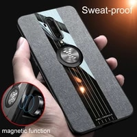 ultra thin stitching cloth phone case for oneplus 7t 7tpro 7 7pro 6t 6 luxury magnetic holder silicone cover