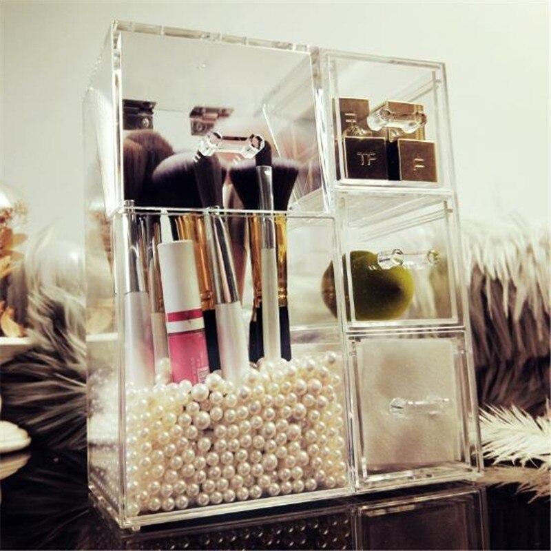 Acrylic Makeup Brushes Holder with Drawers for Cotton Pads/Swab/Blender Makeup Brush Kit Organizer Cosmetics Storage Box