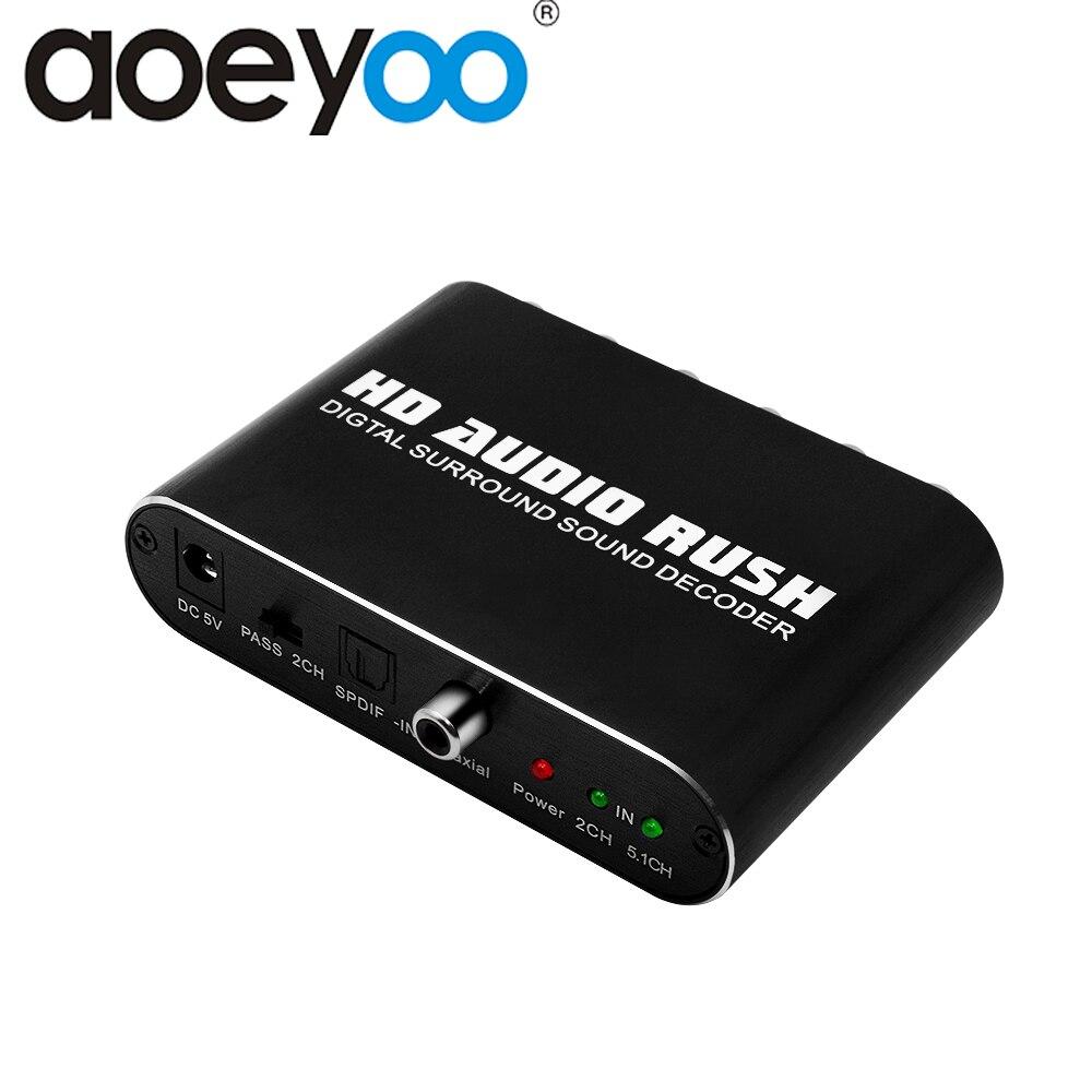 Aoeyoo spdif coaxical para rca 5.1 conversor de áudio digital decodificador adaptador com cabo de áudio óptico rca dts ac3 adaptador para ps4