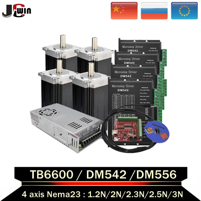4 Axis USB CNC Controller kit Nema 23 Stepper Motor(Dual Shaft) 425oz-in/112mm & Motor Driver TB6600