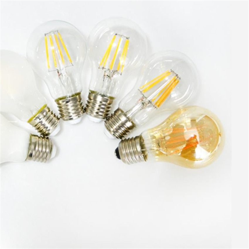 YANG MIN Free Shipping A60 6W dimmable  amber and  transparent cover  LED Light Edison Bulb Chandelier Bulb Retro Filament Bulb enlarge