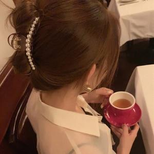 Elegant Pearls Beads Hair Claws for Women Hairpins Shiny Crystal Rhinestone Flower Hair Clips Hair Crab Accessories Hairgrip