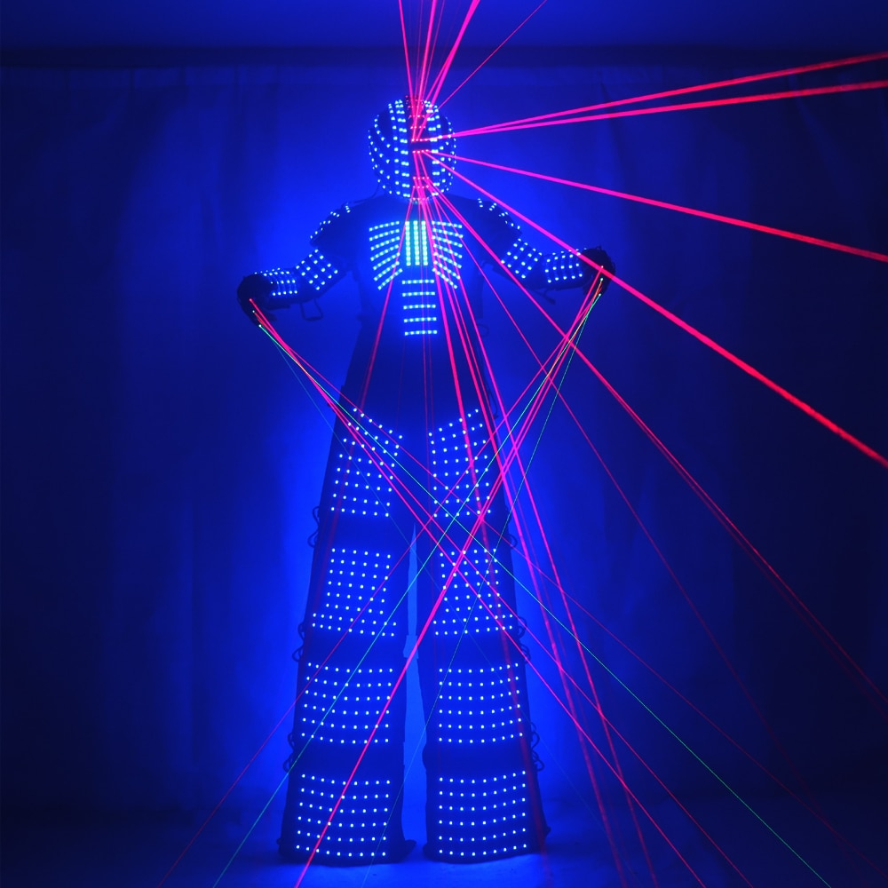 Traje-زي روبوت LED ، ركائز ملابس led ، زي ووكر ، بدلة ، خوذة ، قفازات ليزر ، مسدس نفاث ، CO2