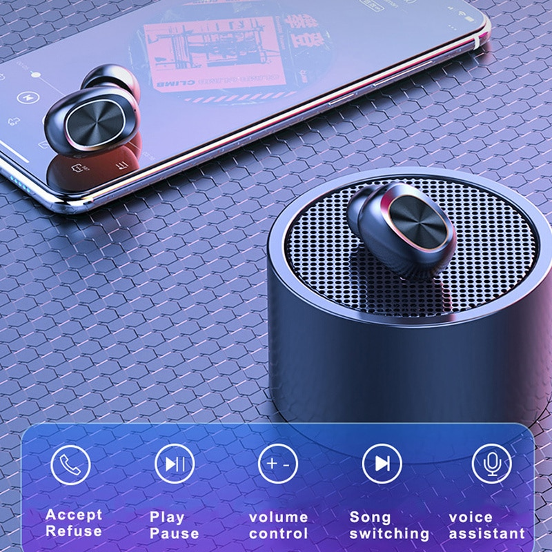 Briame Wireless V5.0 Bluetooth Earphone HD Stereo Headphone Sports Waterproof Headset With Dual Mic and Battery Charge Box enlarge