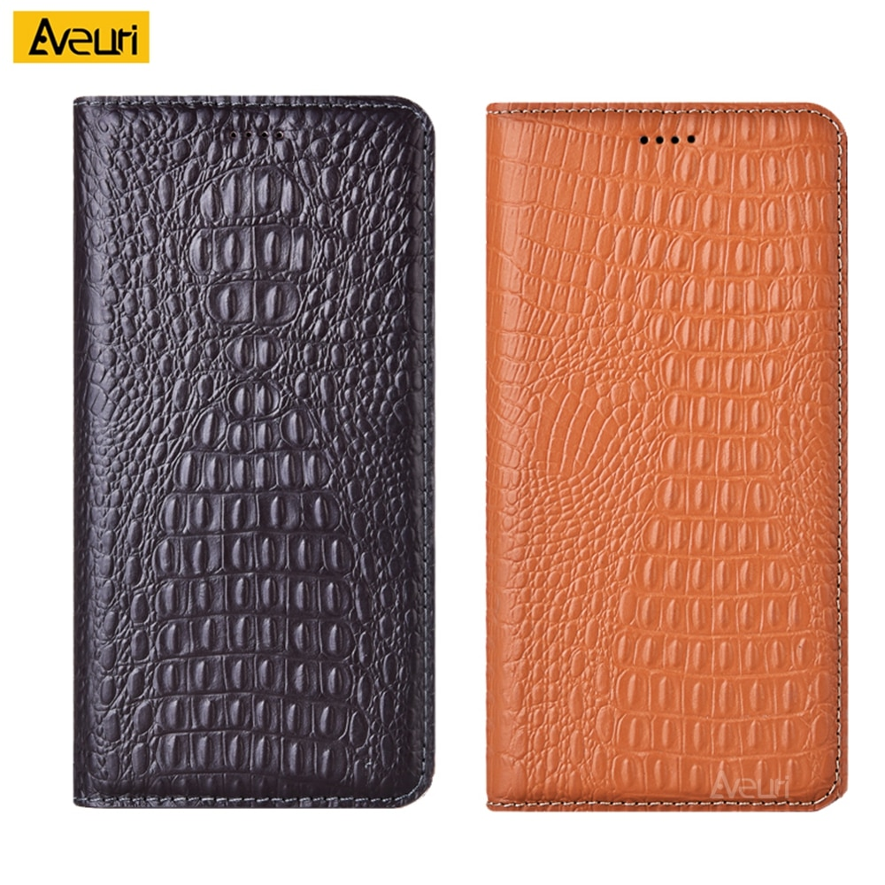 جراب هاتف بغطاء من الجلد الطبيعي ، جراب لهاتف Alcatel 1V 1B 1S 1A 1C 1 2018 2019 2020 ، جراب ملمس تمساح لـ Alcatel 1SE A7XL
