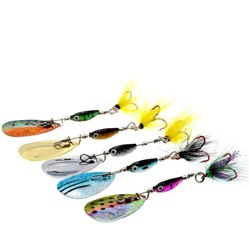 Fish Spoon Metal Jig Spinner Vibration Tail Baits Trout Lures Wobbler Kit 5pcs/Lot