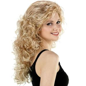 UENEL Fashion Blonde Wig Long Wavy Curly  Women Party s High Temperature Fiber Average Size