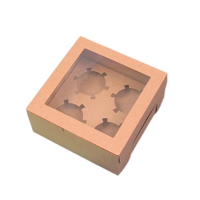 Práctica Boutique Open copa de ventana caja de pastel de papel Kraft pastelería Puffin caja de pastelería hornear