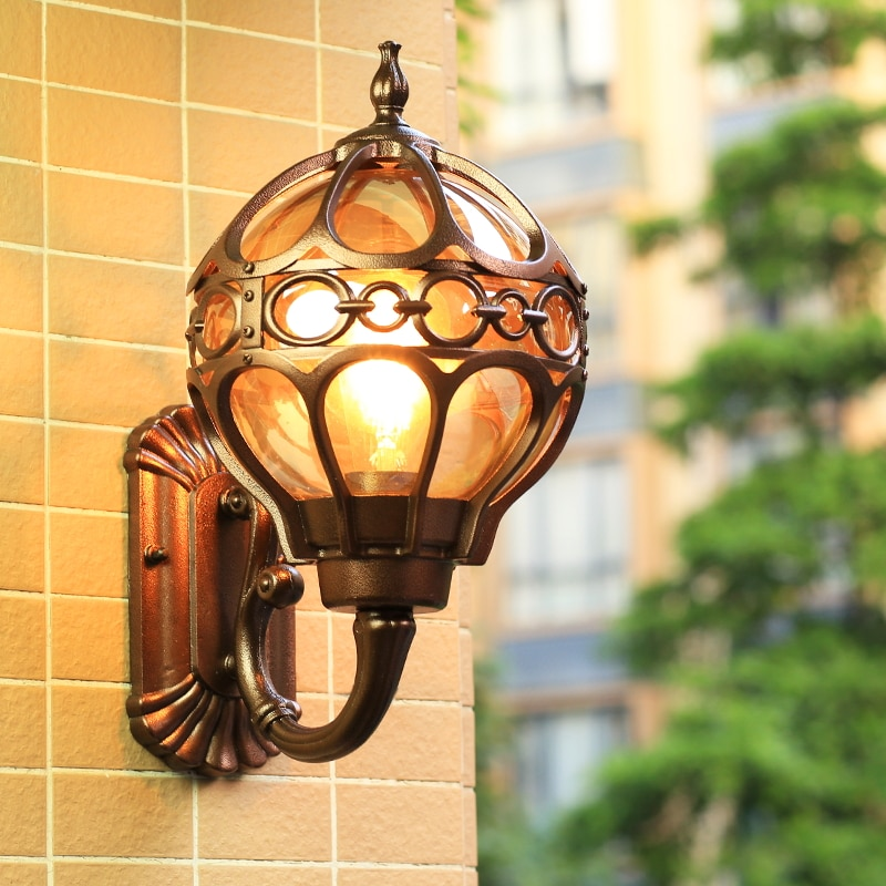مصباح حائط مقاوم للماء على الطراز الأوروبي ، خارجي ، خارجي ، أمريكي ، ريترو ، فناء ، شرفة ، شرفة ، مدخل ، خارجي