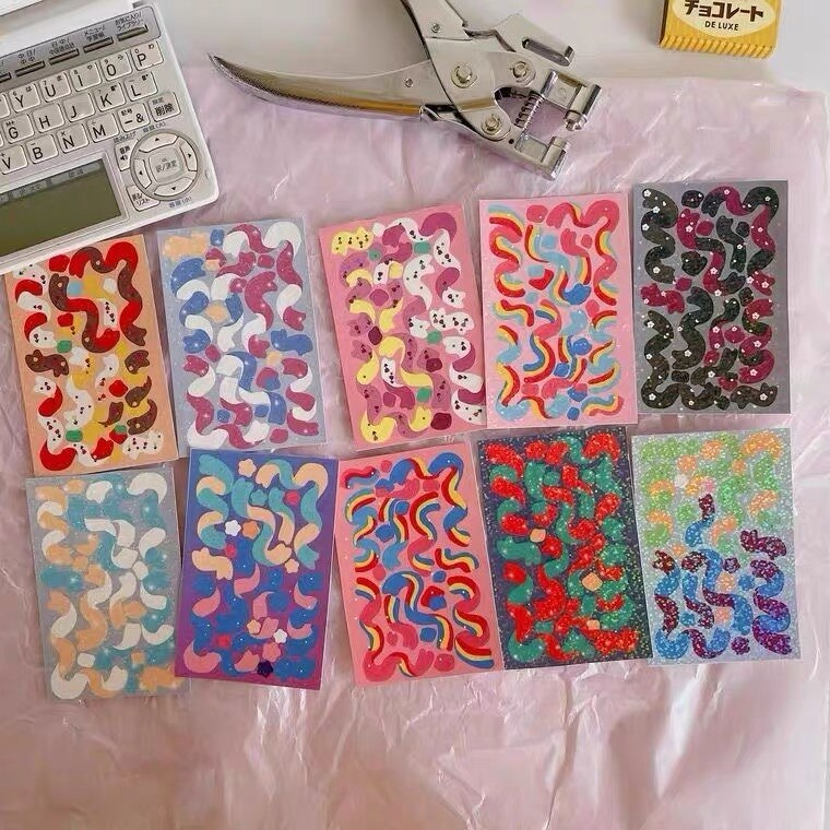 2pcs Sparkling Ribbon Stickers Glittery Photo Stickers Kpop idol Cards Stickers Hand Account Material Dec Kawaii Stationary