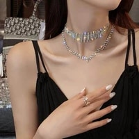 new hot selling fashion ins ms rhinestone necklace shiny crystal double necklace jewelry gift