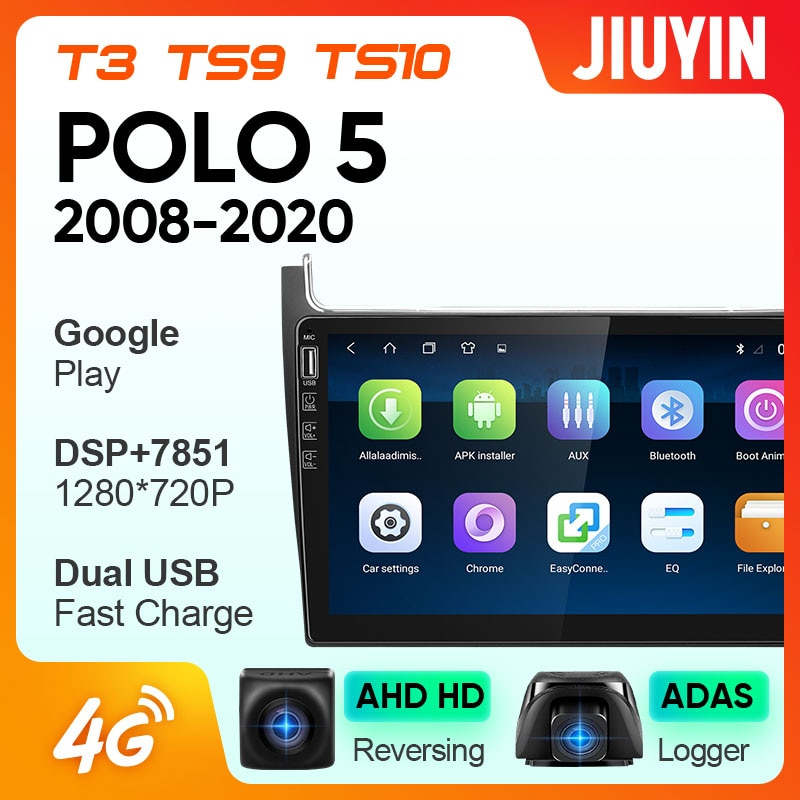 JIUYIN For Volkswagen polo  2010-2019 Car Radio Multimedia Video Player Navigation GPS Android No 2din 2 din
