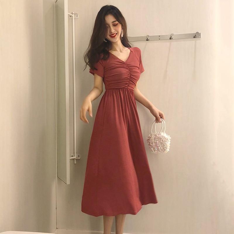 Fashion Ruched Female Dress Summer Dress Women Casual V-Neck Short Sleeve Dress
