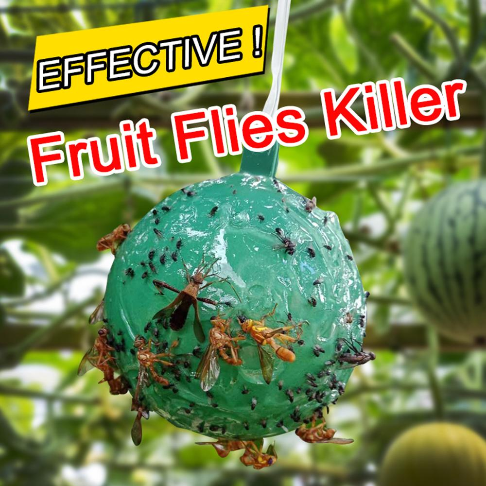 4 PCS Hanging Fly Trap Ball Fruit Fly Catcher Sticky Trap Fly Outdoor Disposable Wasp Bee Yellow jacket Yellowjacket