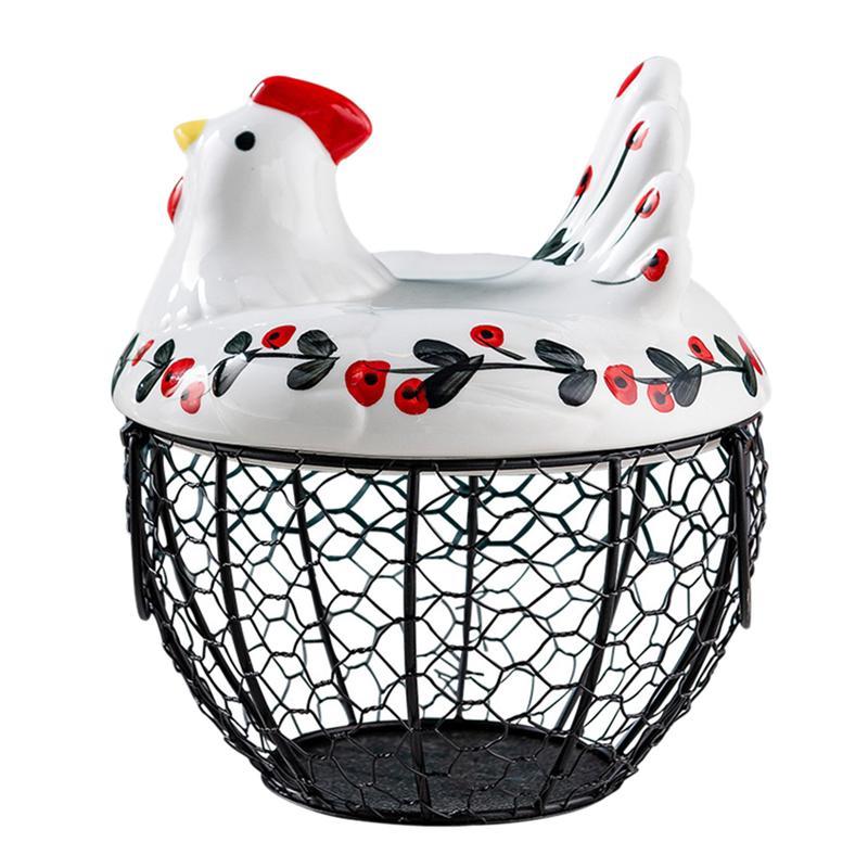 الحديد الفن البيض سلة الدجاج شكل سلة التخزين الغذاء الخضار البيض حامل تخزين المطبخ المنظم حاوية الرف سلة