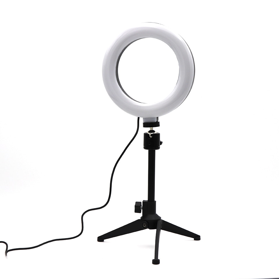 16cm Ring Lamp Video Light Dimmable LED Selfie Ring Light USB Photography Light With Tripod For Phone Makeup Youtube Tik tok