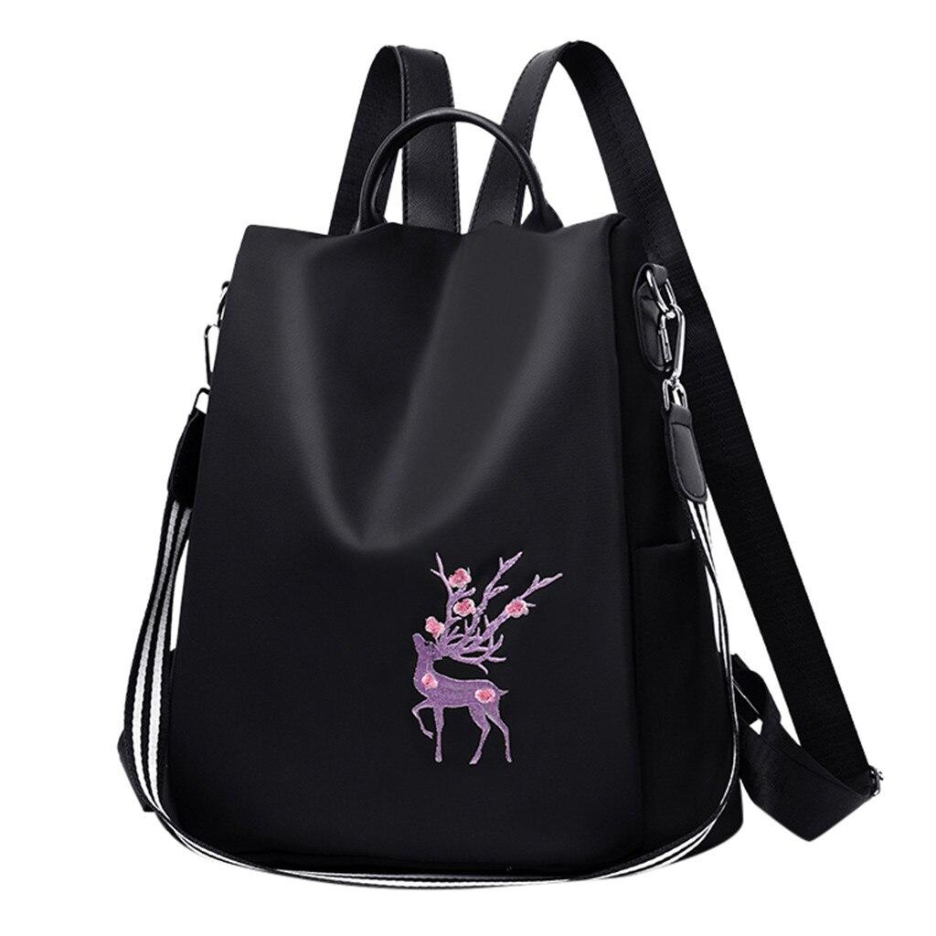 Elegante mochila feminina bordado anti-roubo mochila feminina luz mochila para meninas mochila de viagem