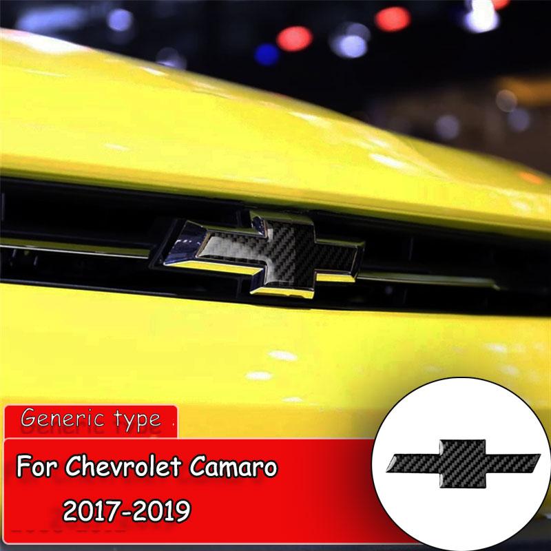 Pegatina de fibra de carbono para estilo de coche para Chevrolet Camaro 2017-2019, logotipo de rejilla delantera del coche, marco de etiqueta, pegatina de cubierta