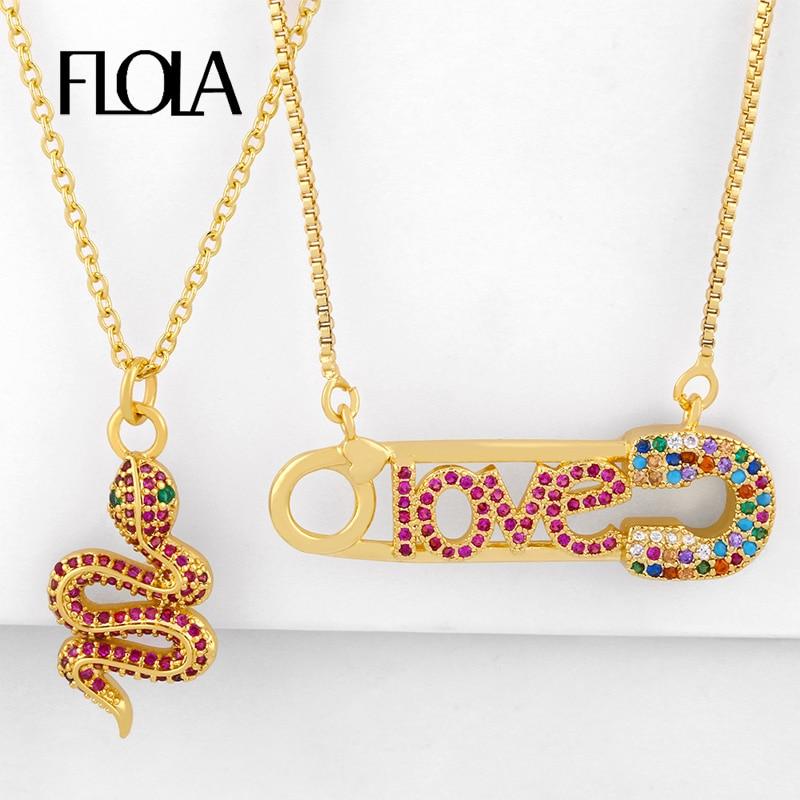 Flola colares para mulheres, multicolor colares de cobra para mulheres cz arco-íris zircônio amor colares de segurança pingente de letra dourado jóias preenchidas nkeq55