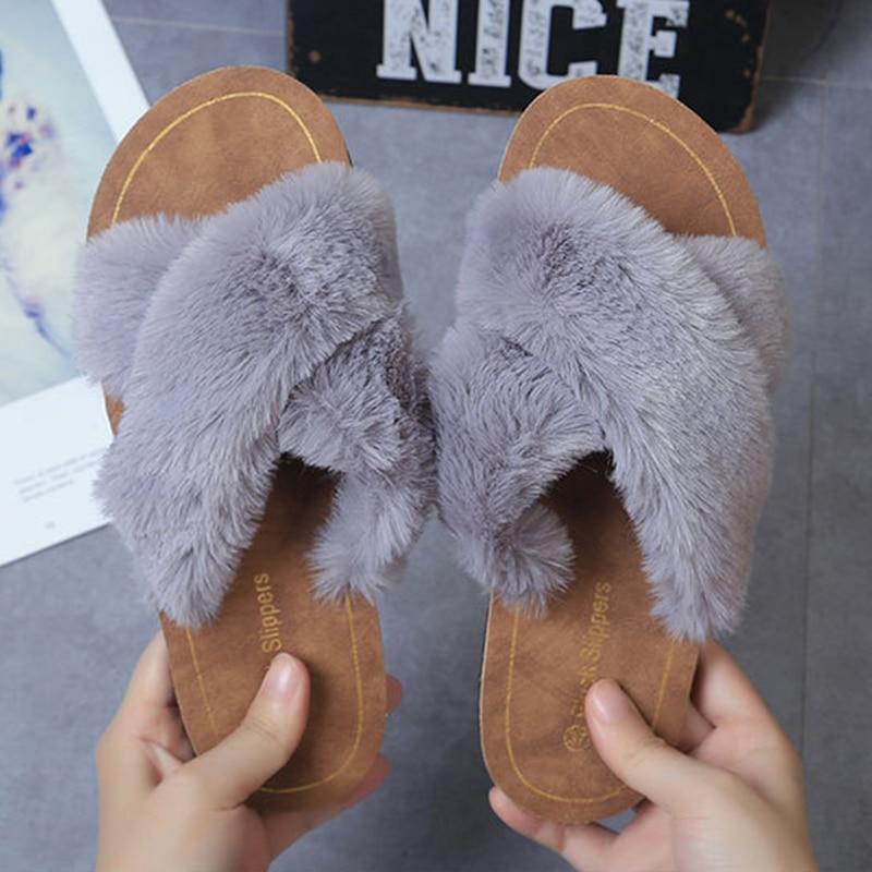 SWQZVT Non-slip fur slippers women open toe outdoor indoor flat autumn winter women shoes cross house sleeping female slippers