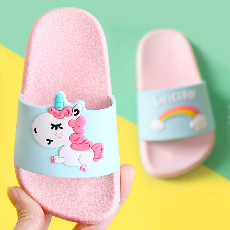 Suihyung Rainbow Unicorn Slippers For Boys Girls New Summer Kids Beach Shoes Baby Toddler Soft Indoo