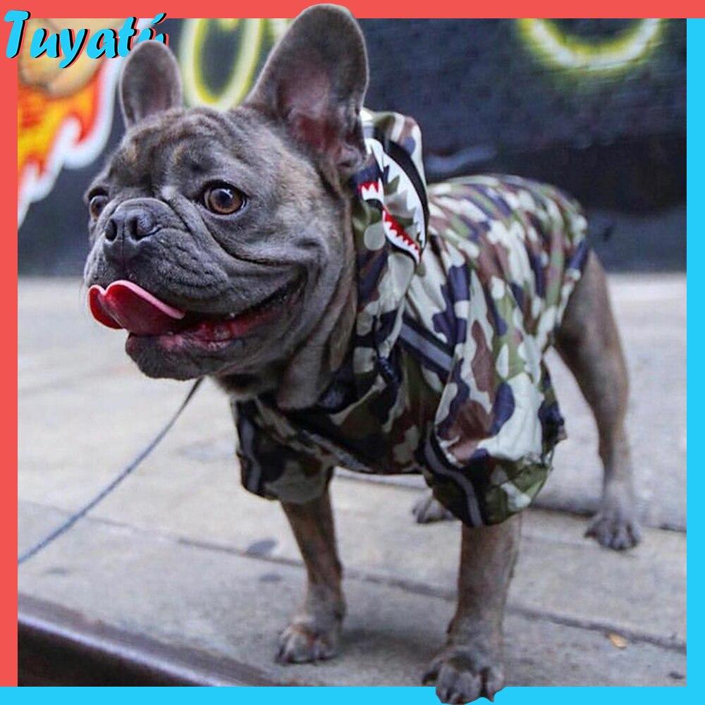 Ropa de invierno para perros pequeños y grandes, ropa con capucha para perros grandes, ropa de camuflaje de Bulldog Francés para perros, abrigo, chaqueta de Pug Chihuahua