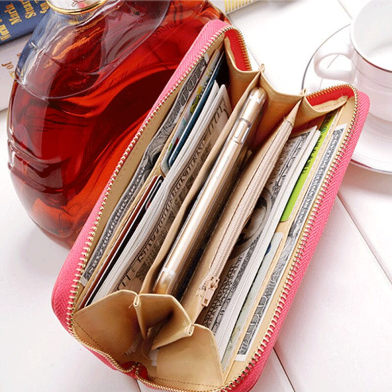 Fashion Lady Women Leather Clutch Wallet Long Card Holder Case Purse Handbag Phone Holder Case Clutch Handbag