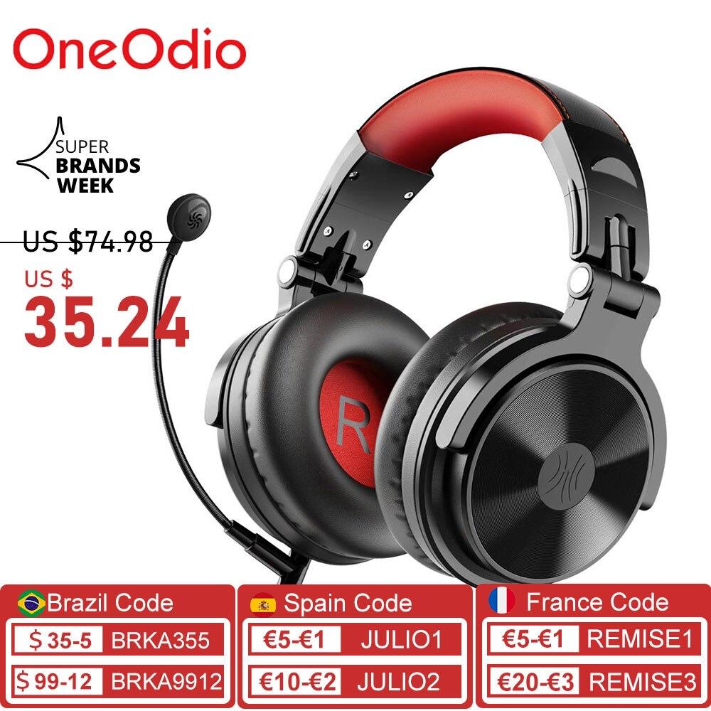 OneOdio سماعة رأس لاسلكية باس بلوتوث 5.0 سماعات السلكية سماعة الألعاب ألعاب مع تمديد Mic للهاتف/PC /PS4/ Xbox