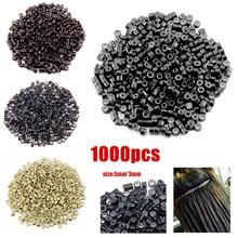 1000 teile/paket 5*3*3mm Aluminium Silikon Bead Rohre Haar Verlängerung Mikro Ringe Loops Weiches Haar Ringe frisur Zubehör