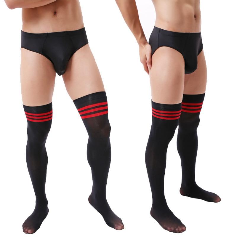 Мужские длинные футбольные носки, мужские бархатные длинные гольфы, черные и красные полосатые мужские носки, мужские чулки