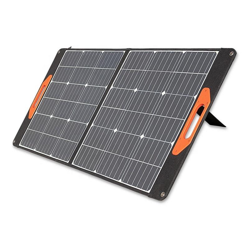 لوحة شمسية قابلة للطي 100 واط في الهواء الطلق ألواح الطاقة الشمسية المحمولة شاحن للتخييم في حالات الطوارئ باستخدام