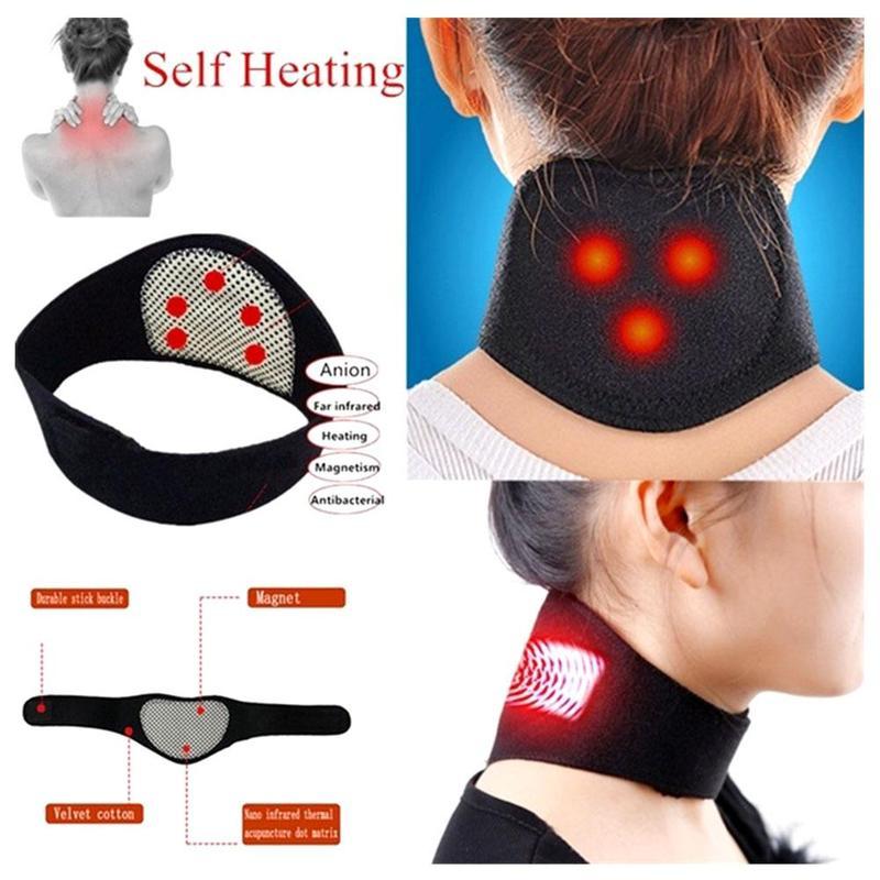 Terapia magnética soporte de cuello masajeador turmalina cinturón de cuello autocalentamiento cinturón de calefacción de protección espontánea
