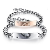 2021 trend couple gift fashion stainless steel rose gold black lovers mens bracelet for women couples jewelry 22cm 23cm