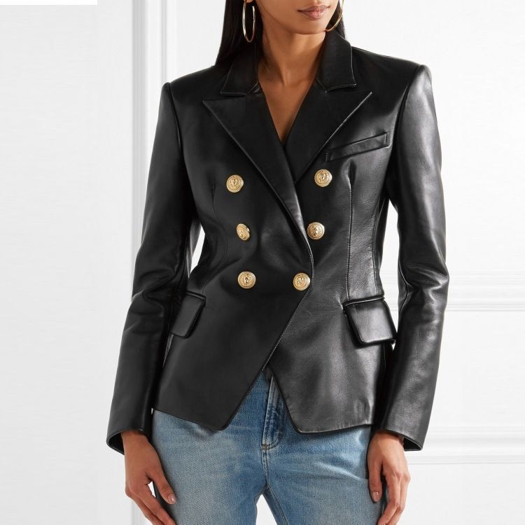 Autumn Spring Black Real Sheepskin Genuine Leather Suit Jackets Womens Loose Overcoat Korean Jacket Coats Ladies Suits Outerwear