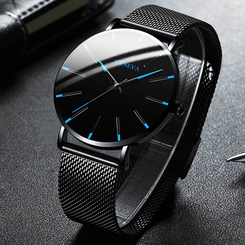2021 Minimalist Men's Fashion Ultra Thin Watches Simple Men Business Stainless Steel Mesh Belt Quart