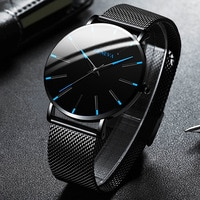 2021 Minimalist Men's Fashion Ultra Thin Watches Simple Men Business Stainless Steel Mesh Belt Quartz Watch Relogio Masculino