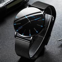 Reloj ultradelgado minimalista para hombre, cronógrafo de cuarzo con correa de malla de acero inoxidable, sencillo, para negocios, 2021