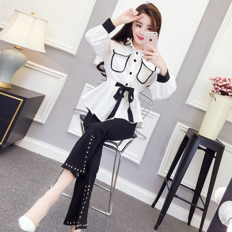 Spring Woman Suit Fashion OL Elegant Outwear Slim Sashes Shirts Split Nail Bead Flare Trousers Two-Piece Set (Tops+Pants) WX69