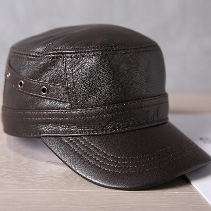 SILOQIN Snapback قبعة الخريف الشتاء الرجال جلد الغنم القبعات العسكرية الطبيعية حقيقية قبعة من الجلد قابل للتعديل حجم الرجال البحرية قبعات مسطحة