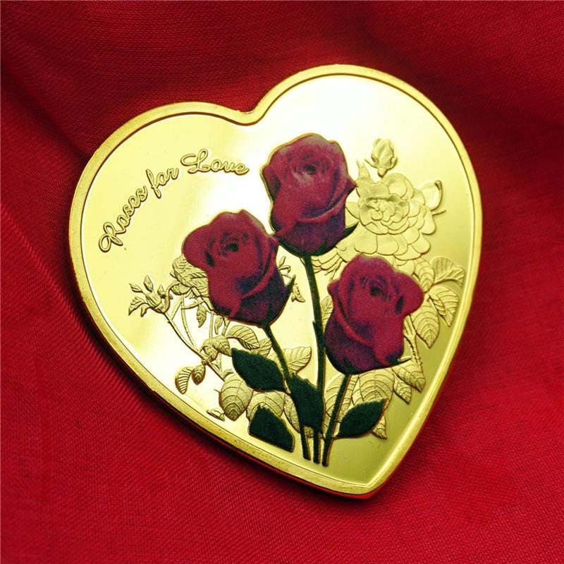 Памятные монеты в форме сердца из розового золота и серебра, монеты для влюбленных, свадебные памятные подарки, сувенирные монеты