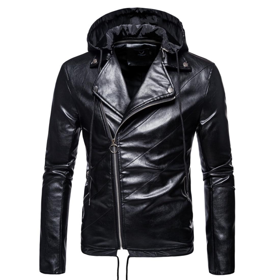 Мужские приталенные кожаные куртки хорошего качества, мужские Куртки из искусственной кожи со съемной шапкой, кожаные куртки и пальто с Диа...