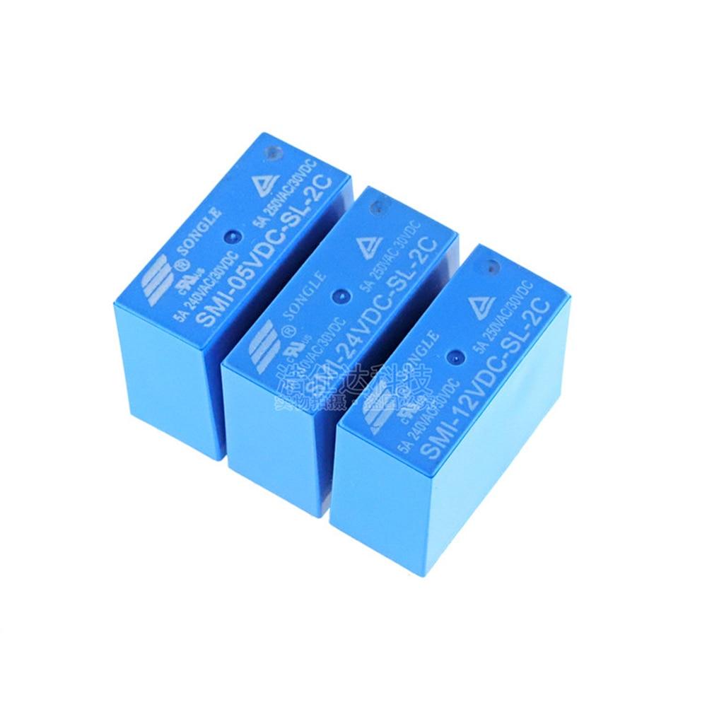 2 шт./лот, реле питания, SMI-05VDC-SL-2C, SMI-12VDC-SL-2C, 5В, 12В, 24В, 5А, 250В переменного тока/30В постоянного тока, 8pin