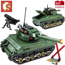 Sembo Block Constructor Fit Lego USA Sherman M4 Tank WW2 Tank Military Technic City Police Weapon Building Blocks Toys 101304
