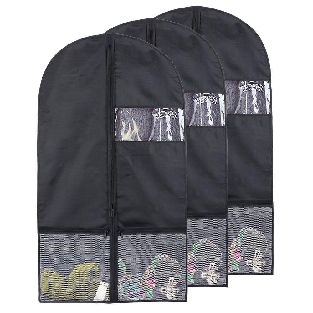 Bolsa de almacenamiento de ropa de poliéster 100%, ropa de vestir, cubierta plegable de traje, ropa, bolsa de almacenamiento con cremallera, bolsa de almacenamiento