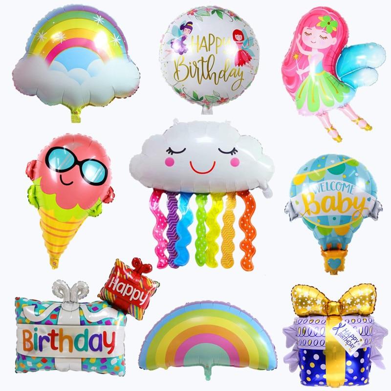 Sun Rain Rainbow Tassel Cloud Fairy Hot Air Balloon Birthday Party Decoration Children Gift Aluminum Foil Inflatable Ball